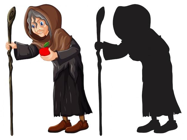 Старая ведьма с красным яблоком в цвете и силуэт мультипликационного персонажа на белом фоне Бесплатные векторы