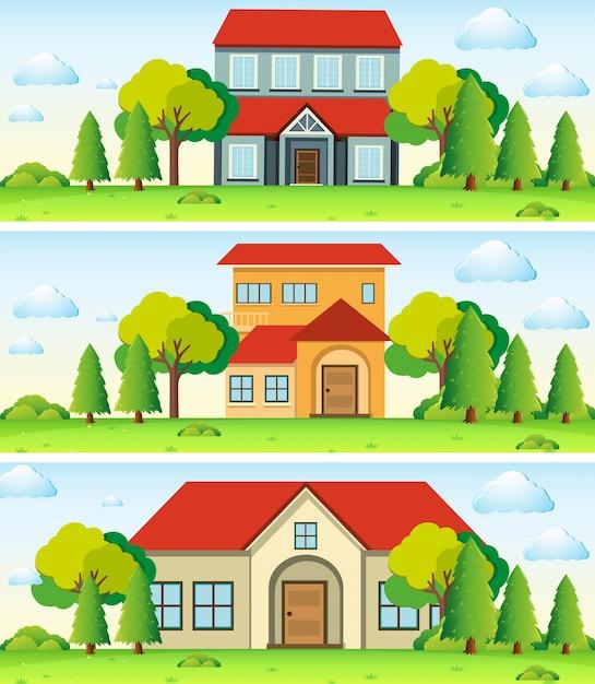 Три сцены с домом в поле Бесплатные векторы