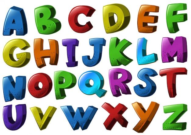 異なる色の英語のアルファベットのフォント 無料ベクター