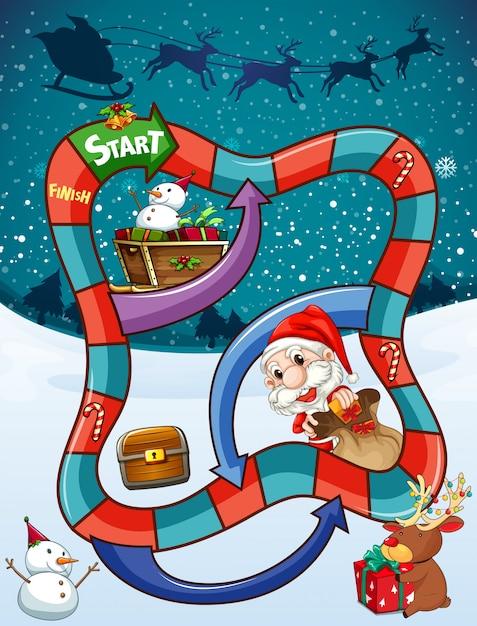 サンタとプレゼント付きのゲームテンプレート Premiumベクター