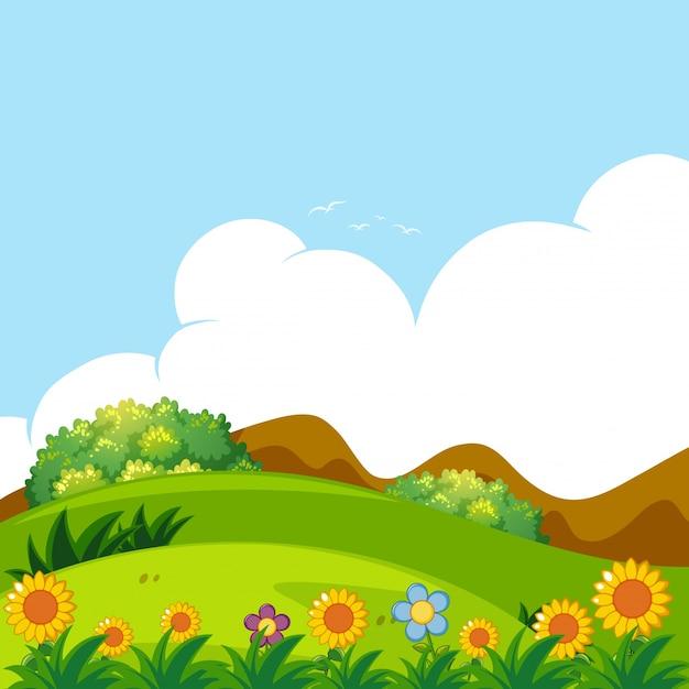 緑の芝生の背景のシーン 無料ベクター