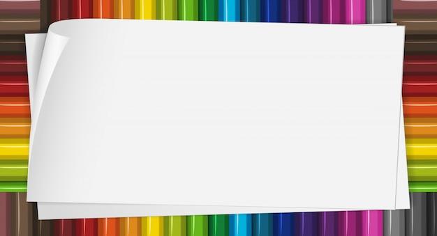 Бумажный шаблон с цветными карандашами в фоновом режиме Бесплатные векторы