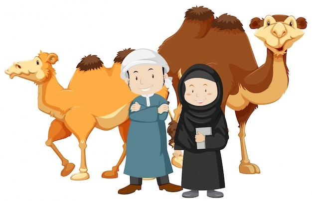 二つのイスラム教の人々とラクダ 無料ベクター