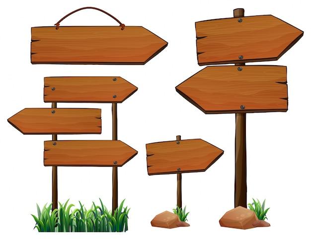 異なる木製の看板のデザイン 無料ベクター