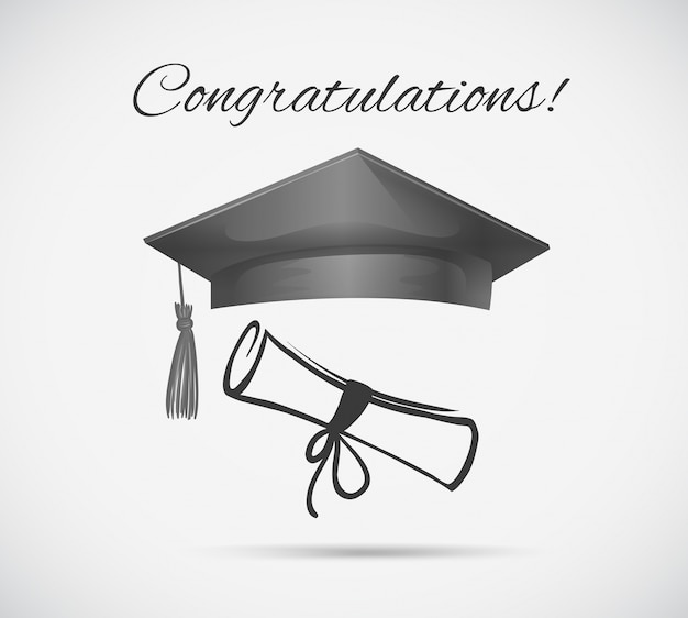 お祝いのカードテンプレートと卒業キャップ 無料ベクター