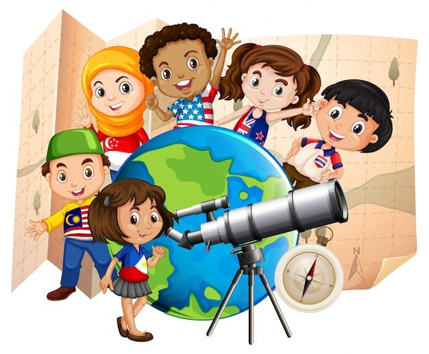 望遠鏡と世界地図を持つ子供たち Premiumベクター