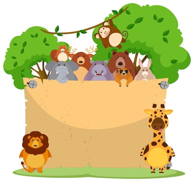 多くの野生動物を含む白紙 無料ベクター