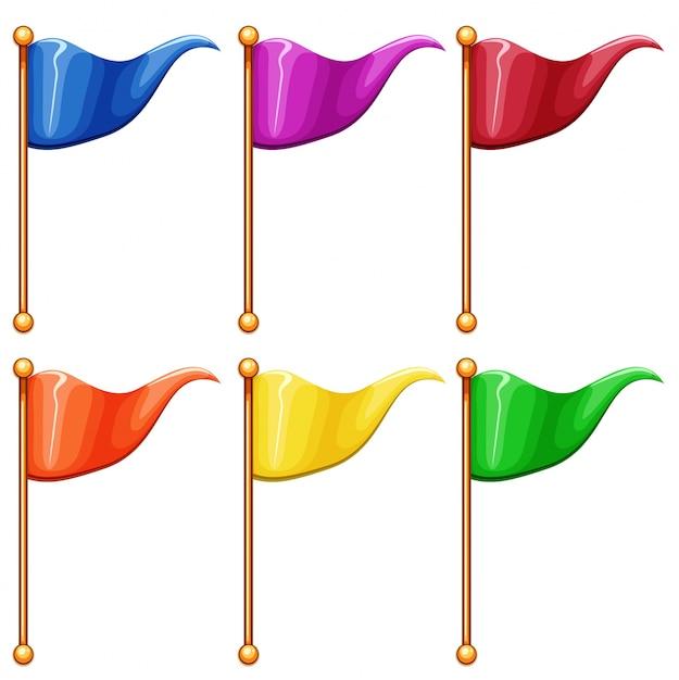 Цветные флаги Бесплатные векторы
