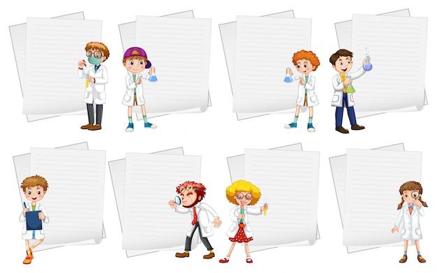 Линейные шаблоны для бумаги с людьми в белых халатах Бесплатные векторы