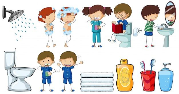 異なる日常的な活動をする子どもたち 無料ベクター