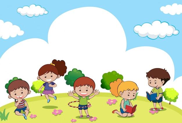 多くの子供たちがさまざまな活動をしているシーン 無料ベクター