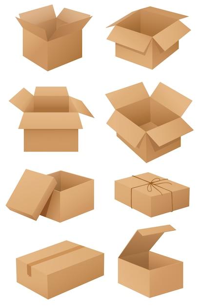 Картонные коробки Бесплатные векторы