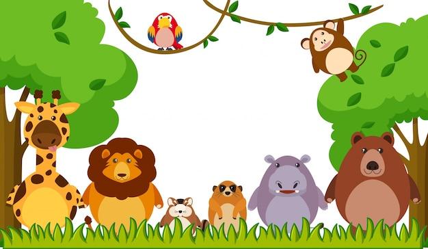 公園で野生動物と背景テンプレート 無料ベクター