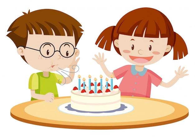 誕生日に子供を吹く子供たち Premiumベクター