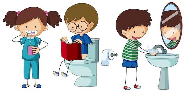 子供たちはバスルームで別のルーチンをやっている 無料ベクター