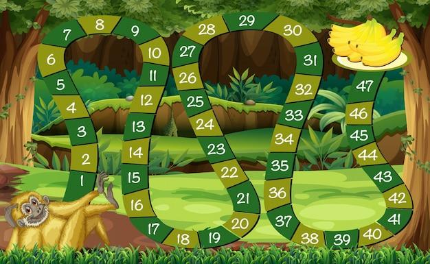 森の猿のゲームテンプレート 無料ベクター