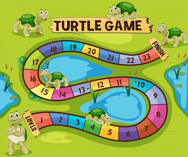池の亀のボードゲームのテンプレート Premiumベクター