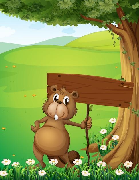 空のボードで木の下に立っているビーバー 無料ベクター