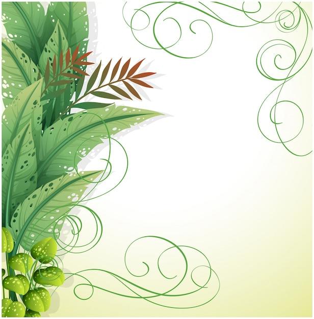 Белая бумага с зелеными растениями Бесплатные векторы