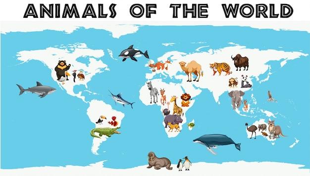 地図上の世界中の動物の種類 無料ベクター