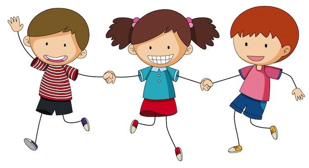 Три ребенка, держась за руки Бесплатные векторы