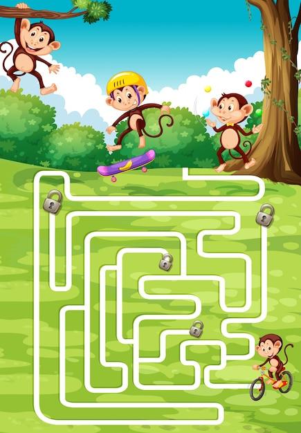 サルとバックグラウンドでのボードゲームのデザイン Premiumベクター