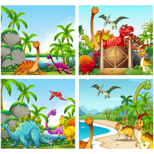 恐竜の背景コレクション 無料ベクター