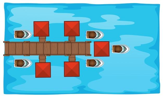 橋とボートを持つ航空写真 無料ベクター