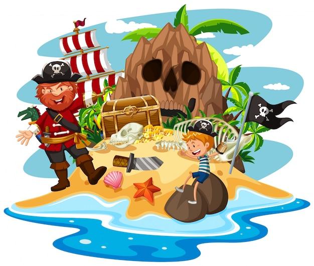 рисунок пираты на острове месте падения