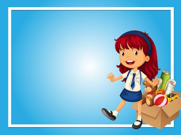女の子とおもちゃの箱とボーダーテンプレート 無料ベクター