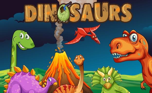 Различные типы динозавров ночью Бесплатные векторы
