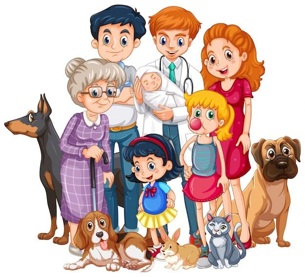 Семья с новорожденным и много домашних животных Бесплатные векторы
