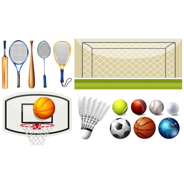 Коллекция спортивные элементы Бесплатные векторы