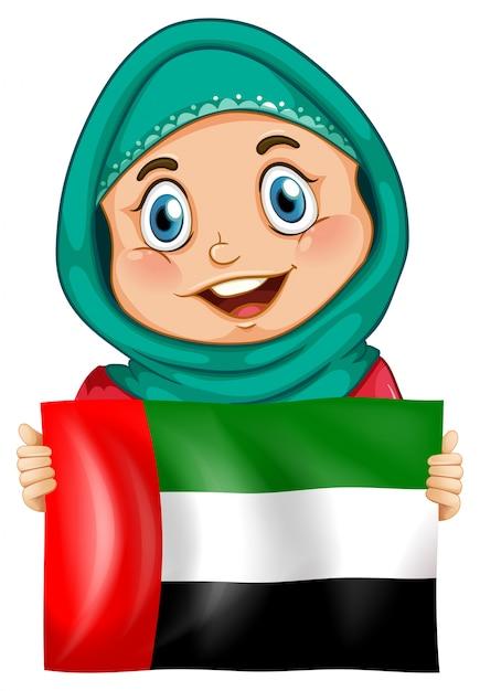 かわいい女の子とアラブ首長国連邦の旗 無料ベクター