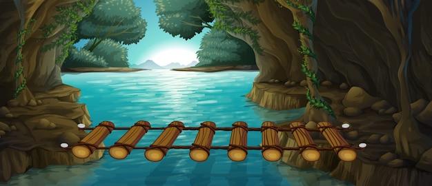 川を渡る橋のあるシーン Premiumベクター