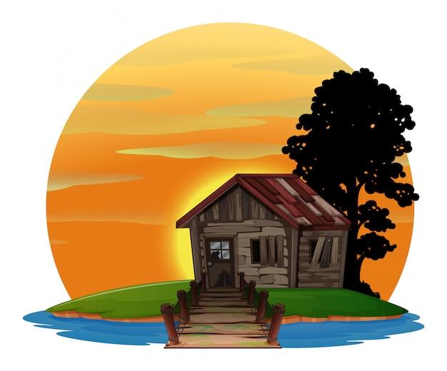 島の木の家 Premiumベクター