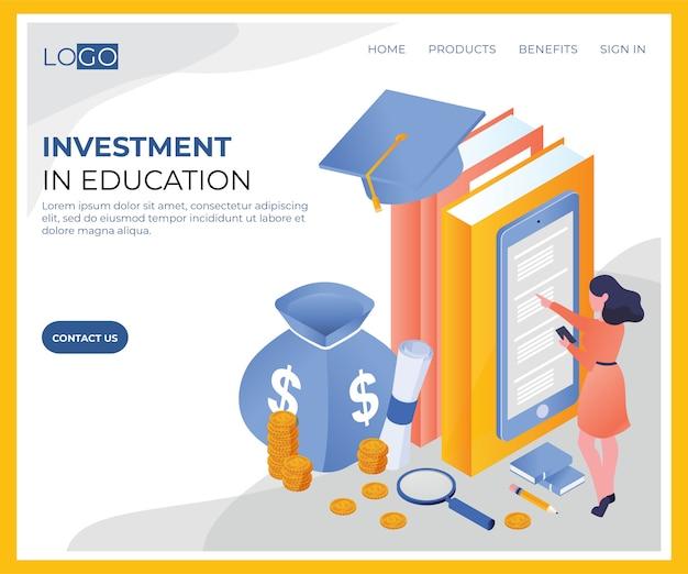 Инвестиции в образование изометрического шаблона Premium векторы