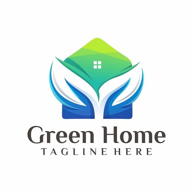 緑の家のロゴのベクトル、テンプレート、イラスト Premiumベクター