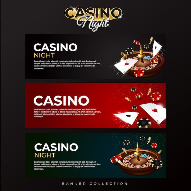 Баннерная коллекция казино ночь Premium векторы