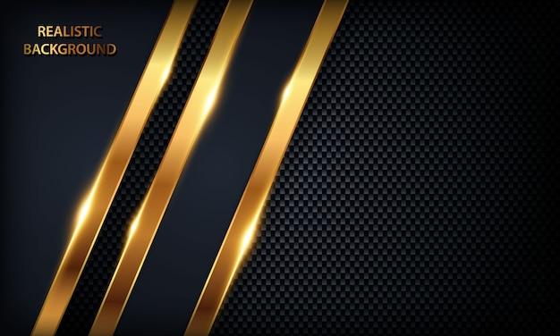 ダークブルーのオーバーラップ背景。黄金の線、金属のデザインと黄金の光のテクスチャ。 Premiumベクター