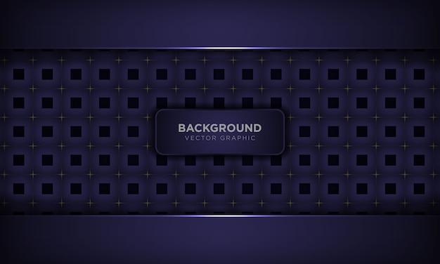Роскошная фиолетовая абстрактная предпосылка с квадратной геометрической картиной и золотым светлым украшением. современная технологическая концепция. Premium векторы