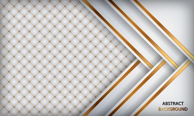 Элегантный белый роскошный фон. белая кожа текстурированная с золотыми металлическими деталями. Premium векторы