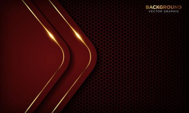 Красная роскошная предпосылка с слоями перекрытия. текстура с золотой линией и блестящим золотым световым эффектом. Premium векторы
