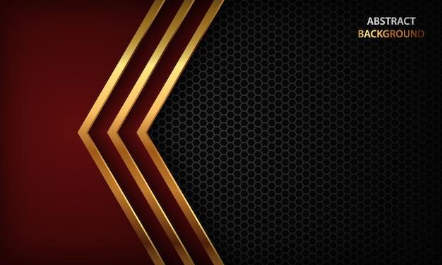 赤い矢印と暗い抽象的な背景はレイヤーをオーバーラップします。ゴールデンラインと六角形のパターンを持つテクスチャー。 Premiumベクター