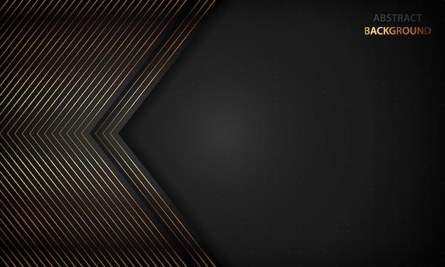 金色の線と黒の抽象的な背景。モダンで豪華なコンセプト。 Premiumベクター