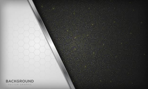 豪華な白と黒の背景に現実的なシルバーラインと光沢のある黄金の放射状ハーフトーンの六角形が重複しています。 Premiumベクター