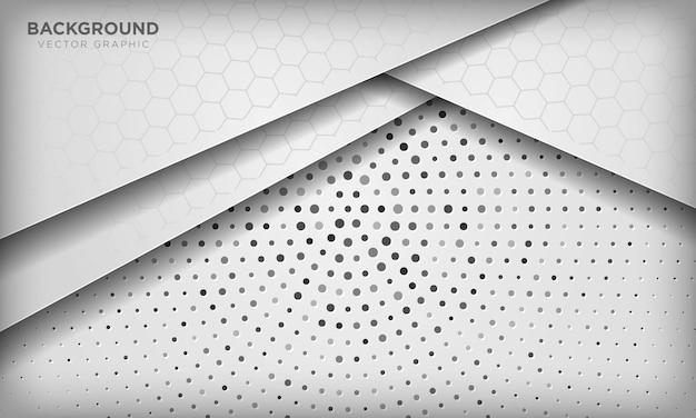 銀の放射状ハーフトーンの六角形パターンで抽象的な白い次元重複背景。 Premiumベクター