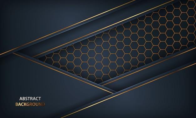 抽象的な暗い青色の背景。金色の要素と六角形のデザインを持つテクスチャー。 Premiumベクター