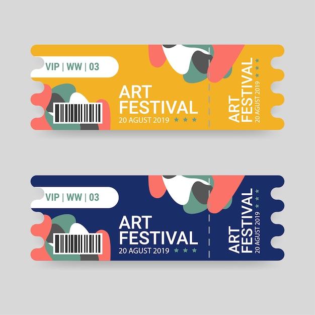 青と黄色の色のアートフェスティバルのチケットテンプレート Premiumベクター