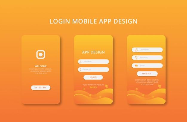 Дизайн мобильных приложений с градиентом цвета премиум вектор Premium векторы